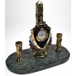 """Бронзовые настольные часы с письменным прибором """"Граница"""" дл.19см"""