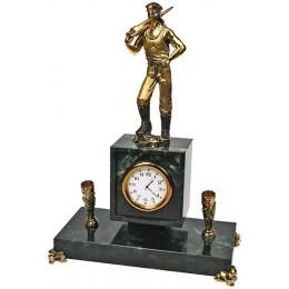 """Бронзовые настольные часы с письменным прибором """"Шахтер"""" выс.25см"""