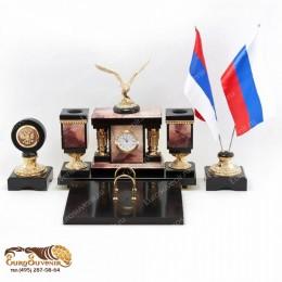 """Элитный письменный набор из камня и бронзы с часами """"Граф Орлов"""" дл.54см"""