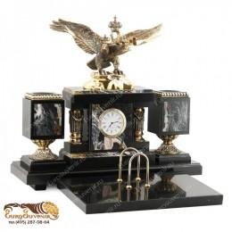 """Элитный письменный набор из камня и бронзы с часами """"Ливрея"""" дл.34см"""