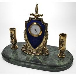 """Настольные бронзовые часы с письменным прибором """"Наградные с мечом"""" дл.19см"""