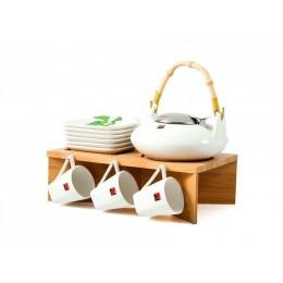 """Подарочный чайный набор на бамбуковой подставке на 6 персон """"Приятная компания"""""""