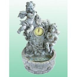 """Настольный фонтан с часами """"Ангелочки в винограднике"""""""