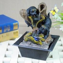 """Настольный фонтан с подсветкой """"Щеночки у источника"""""""