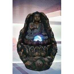"""Садовый фонтан с подсветкой """"Медетирующий Будда"""""""