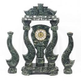 """Декоративные большие часы из змеевика с подсвечниками """"Царские"""", высота 63 см"""