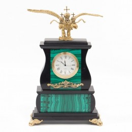 "Декоративные часы из малахита ""Царский орёл"", высота 25 см"