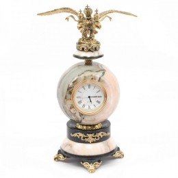"""Декоративные часы из мрамора и змеевика """"Царский орёл"""", высота 26 см"""