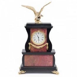 """Декоративные часы из родонита """"Гордый орёл"""", высота 25 см"""