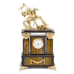 """Декоративные часы из тигрового глаза """"Георгий Победоносец"""", высота 33 см"""