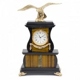 """Декоративные часы из тигрового глаза """"Гордый орёл"""", высота 25 см"""