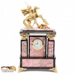 """Каминные часы из камня и бронзы """"Карл Великий"""" выс.31см"""