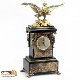 """Каминные часы из камня и бронзы """"Король Лир"""" выс.39см"""