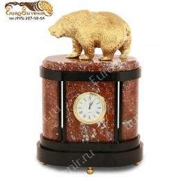 """Каминные часы из камня и бронзы """"Медведь"""" выс.27см"""