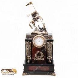 """Каминные часы из камня и бронзы """"Висенс"""" выс.37см"""