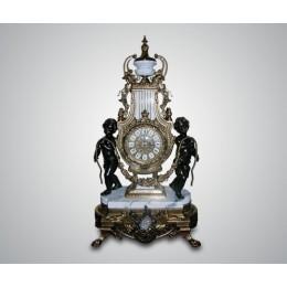 "Каминные часы Lancini ""Ангелы"" Bianco бронза, мрамор"