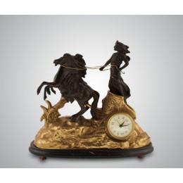 """Каминные часы Lancini """"Римская Богиня"""" Nero бронза, мрамор"""