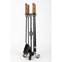 Декоративный каминный набор с деревянными ручками «Maple», черный