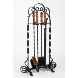 Декоративный каминный набор с деревянными ручками «Tulip», черный