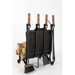 Декоративный каминный набор с дровницей «На даче», черный