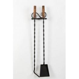 Декоративный настенный каминный набор из 2 - х предметов «Fireplace utensils», черный
