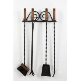 Декоративный настенный каминный набор из 4 - х предметов «Fireplace utensils», черный