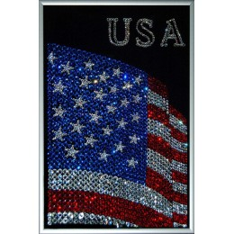 "Картина Сваровски ""Флаг USA"", 20 х 30 см"