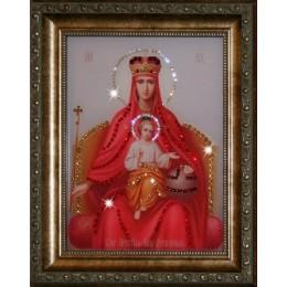 """Православная икона Божией Матери с кристаллами Swarovski """"Державная"""""""