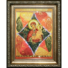 "Православная икона Swarovski ""Богородица-Неопалимая купина"", 20,5х25,5см"
