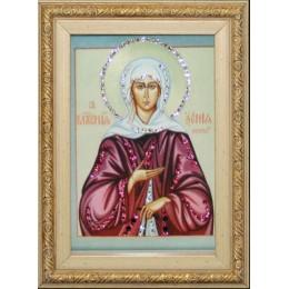 """Православная икона Swarovski """"Ксения Петербургская"""", 13х18см"""