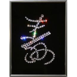 """Картина с кристаллами Swarovski """"Иероглиф-Долголетие"""", 15х20см"""