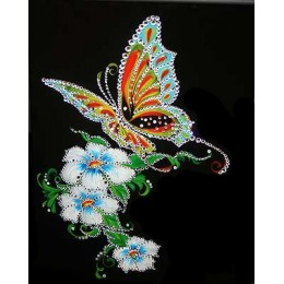 "Картина Swarovski ""Бабочка на белых цветах"""