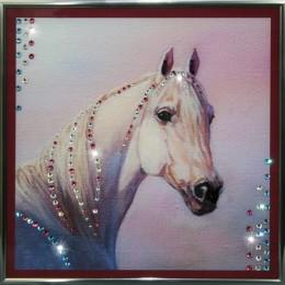 """Картина Swarovski """"Белая лошадь"""""""