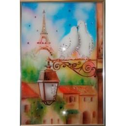 """Картина Swarovski """"Голуби в Париже"""""""