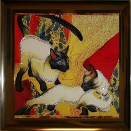 """Картина Swarovski """"Кошки"""", 48х48см"""