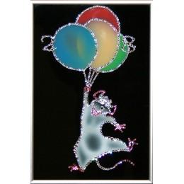 "Картина Swarovski ""Крыса на шариках"""