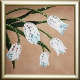 """Картина Сваровски """"Букет белых тюльпанов"""", 12 х 12 см"""
