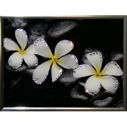 "Картина Swarovski ""Белые цветы"", 20х15см"