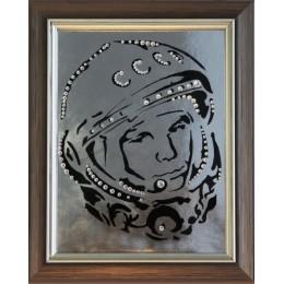 "Картина с кристаллами Swarovski ""Гагарин"" 23,5х19 см"