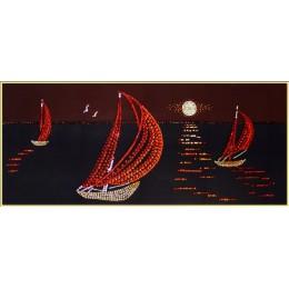 """Картина Swarovsk """"Кораблики в море"""", 30 х 70 см"""