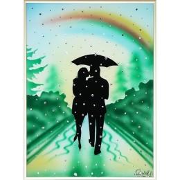 """Картина с кристаллами Swarovski """"Влюбленные под радугой"""" 30х40см"""