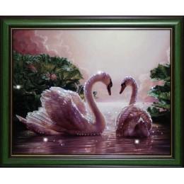 """Картина Swarovski """"Влюбленные лебеди"""""""