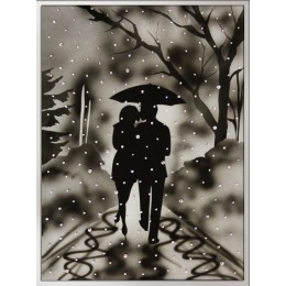 """Картина Swarovski """"Влюбленные под дождем"""" большая, 235 кристаллов, 30х40"""