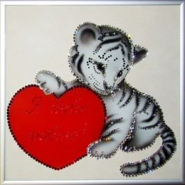 """Картина Swarovski """"Я твой тигра"""", 890 кристаллов, 25х25 см"""