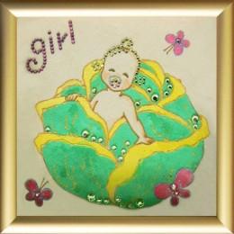 "Картина Сваровски ""Младенец Girl"", 12 х 12 см"