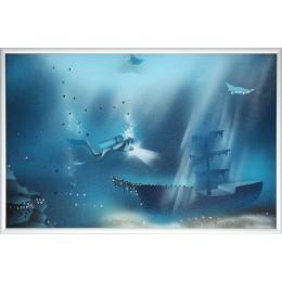 "Картина Сваровски ""Голубая лагуна 1"", 30 х 20 см"