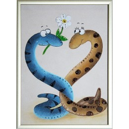 """Картина Сваровски """"Новогодние влюбленные змейки"""", 15 х 20 см"""