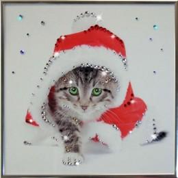 """Картина Swarovski """"Кот Новый год"""""""