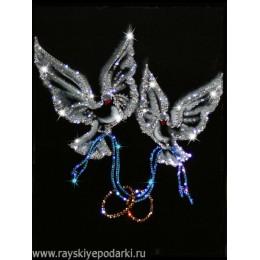 "Картина из кристаллов Swarovski ""Любовь и голуби"""
