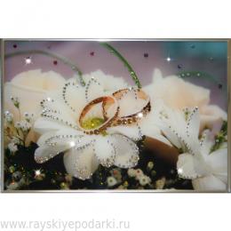 """Картина из кристаллов Swarovski """"Обручальное кольцо"""""""